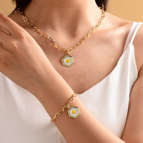 fashion gold-plated small daisy necklace bracelet  NHOT266453's discount tags