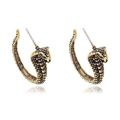 pendientes de serpiente dorados estilo punk con forma de serpiente exagerada NHJQ266478's discount tags