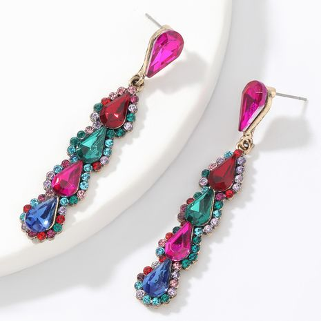 Fashion Color Diamond  Multilayer Drop Shaped Glass Diamond Earrings  NHJE266488's discount tags