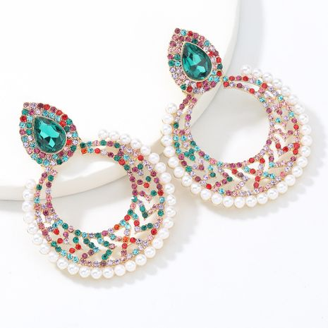 Fashion  diamond  alloy  inlaid pearl hollow round geometric earrings  NHJE266492's discount tags