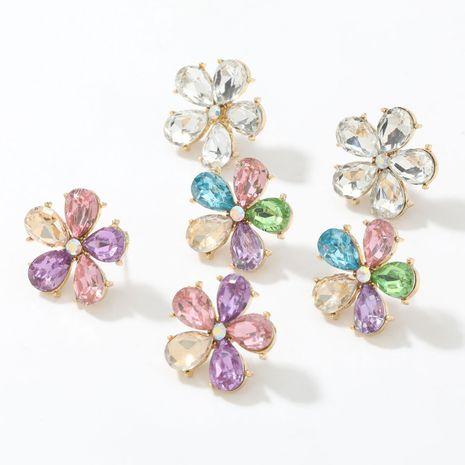 Pendientes de flor de diamante de cristal de aleación de serie de diamantes de color de moda NHJE266493's discount tags