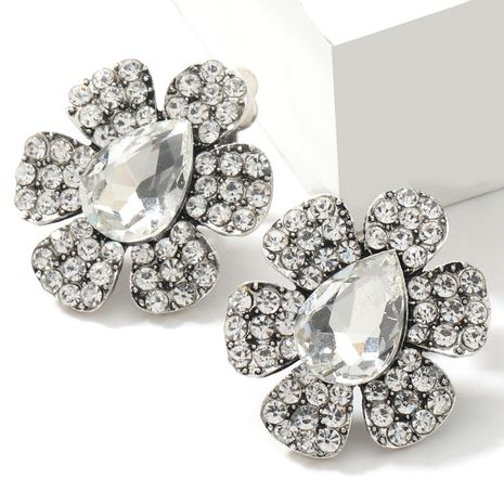 alloy  rhinestone drop-shaped glass diamond flower earrings  NHJE266496's discount tags