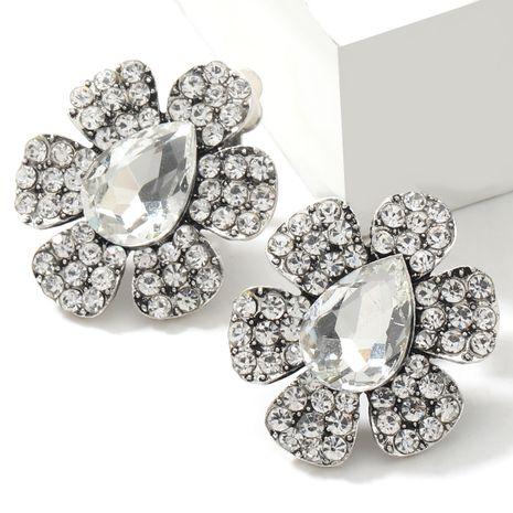 boucles d'oreilles en alliage de strass en forme de goutte en verre et fleur NHJE266496's discount tags