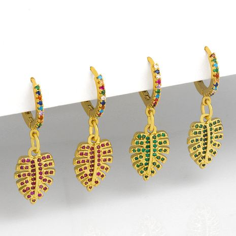 creative leaf micro-inlaid colorful zircon earrings NHAS266519's discount tags