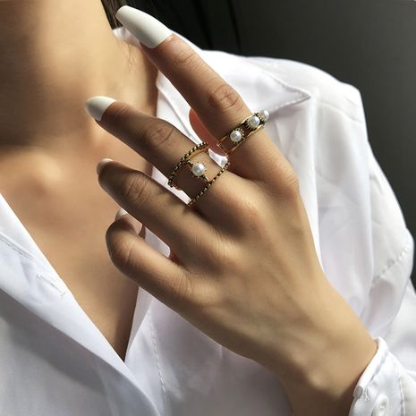 Simple Light Luxury Pearl Retro Metal Ring Set  NHMD266542's discount tags