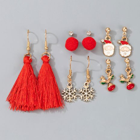 New Christmas Collection Elk Santa Snowflake Tassel  Red  Earrings set NHGY266555's discount tags