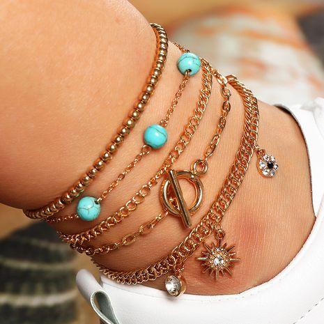ensemble de 5 pièces bracelet étoile turquoise simple perle ronde en métal NHNZ266582's discount tags