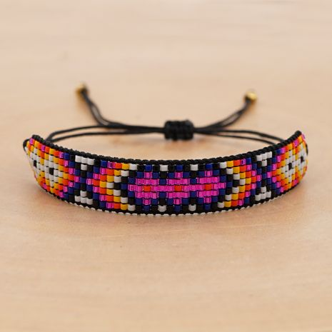 rice beads woven handmade jewelry contrast color geometric couple bracelet NHGW266586's discount tags