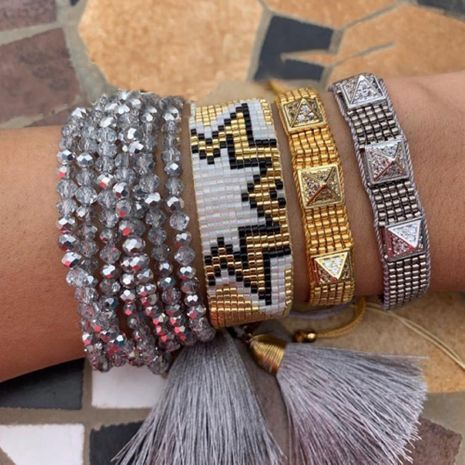 Crystal multi-layered punk style rivet rice bead woven geometric bracelet  NHGW266596's discount tags