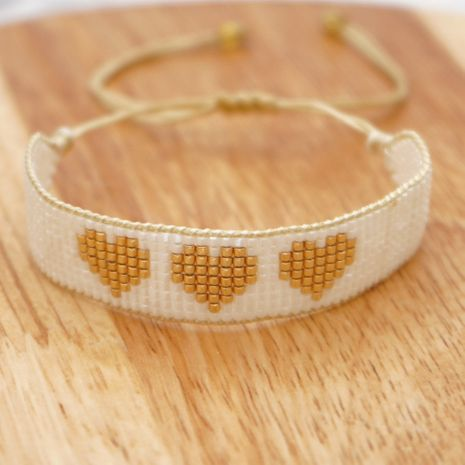 wholesale simple exotic heart rice bead woven couple bracelet  NHGW266594's discount tags