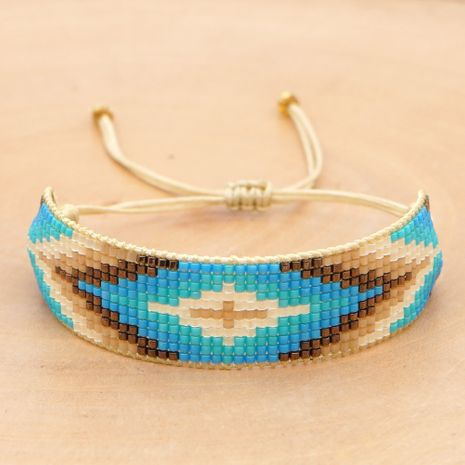ice beads woven retro ethnic style geometric Turkish blue eye bracelet  NHGW266593's discount tags