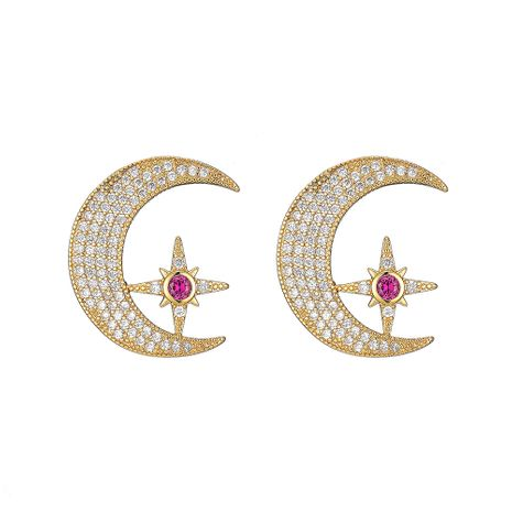 new  diamond star moon earrings wholesale NHOA266599's discount tags
