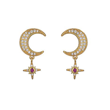 new  diamond  star  moon earrings wholesale NHOA266600's discount tags