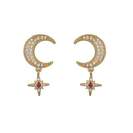 nouvelles boucles d'oreilles diamant étoile lune en gros NHOA266600's discount tags