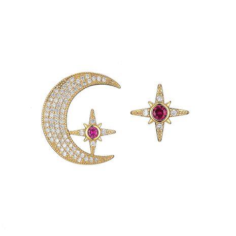 new  asymmetric  diamond star moon earrings NHOA266606's discount tags