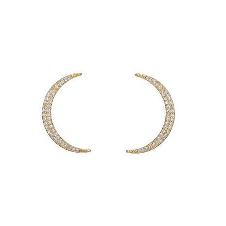 hot selling  new sickle-shaped diamond moon earrings NHOA266613's discount tags