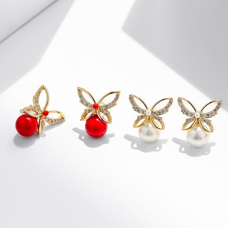 925 silver needle fashion red elegant imitation pearl butterfly sexy earrings  NHPP266618