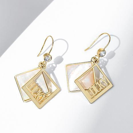 geometric creative fashion letter LUCKY long sexy earrings NHPP266620's discount tags