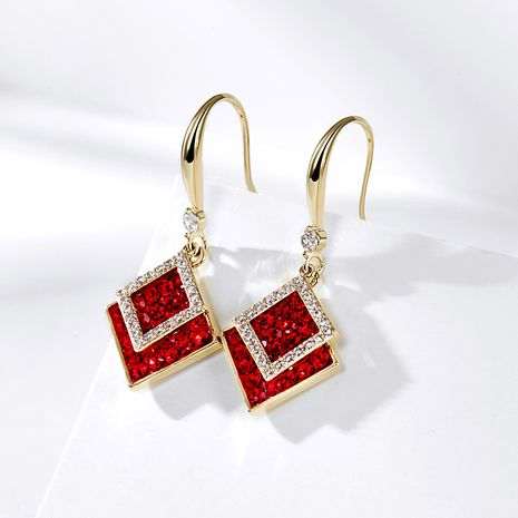 autumn and winter Korean red geometric earrings NHPP266633's discount tags