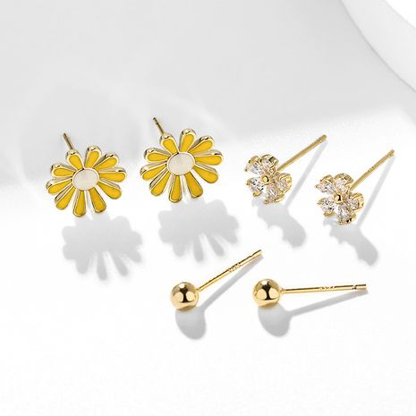 Ensemble de 6 petites boucles d'oreilles petites marguerites en argent 925 NHPP266647's discount tags