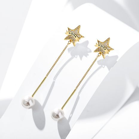 925 silver needle imitation pearl five-pointed star long pendant tassel earrings  NHPP266671's discount tags
