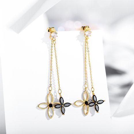 Boucles oreilles en argent 925 avec pendentif fleur creux à quatre feuilles NHPP266673's discount tags