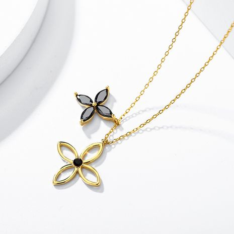hollow four-leaf flower pendant fashion necklace NHPP266678's discount tags