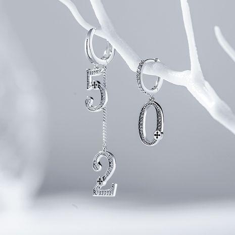 520 boucles oreilles asymétriques scintillantes et brillantes numériques de haut niveau NHPP266687's discount tags