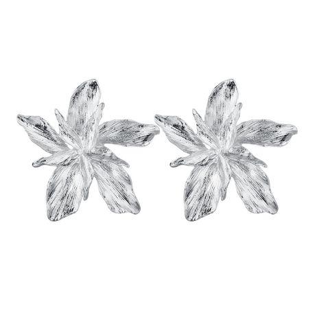 hot-selling punk metal three-dimensional flower earrings  NHDM266718's discount tags