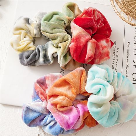 autumn and winter colorful tie-dye flannel large intestine hair scrunchies  NHDM266725's discount tags