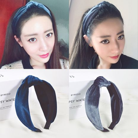 Korean  new gold velvet headband NHDM266728's discount tags
