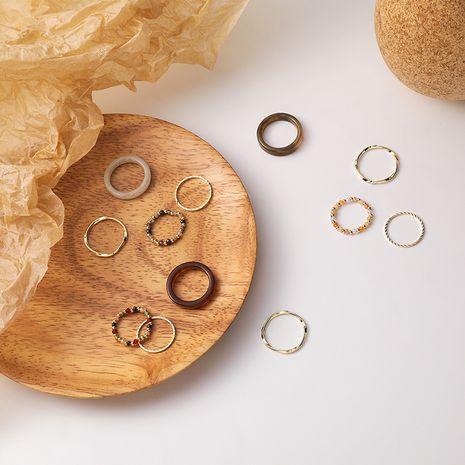 Cristal acrylique transparent perlé bohème mignon simple bague 4 pièces NHMS266729's discount tags