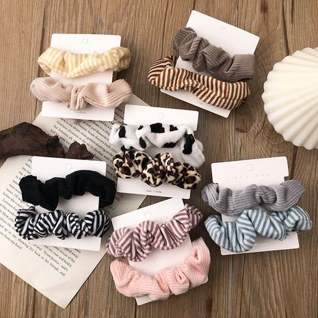 retro large intestine coral fleece leopard sweet girl striped hair rope  NHNA266749's discount tags