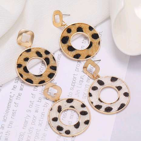 Fashion new concise circle Leopard Print Stud Earrings for women hot-selling NHSC266758's discount tags