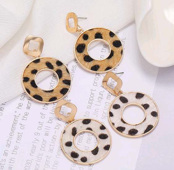 Fashion new concise circle Leopard Print Stud Earrings for women hotselling NHSC266758