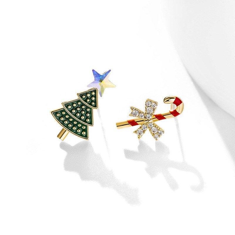 925 Silver Needle Christmas Tree Fashion Earrings  NHPP266684