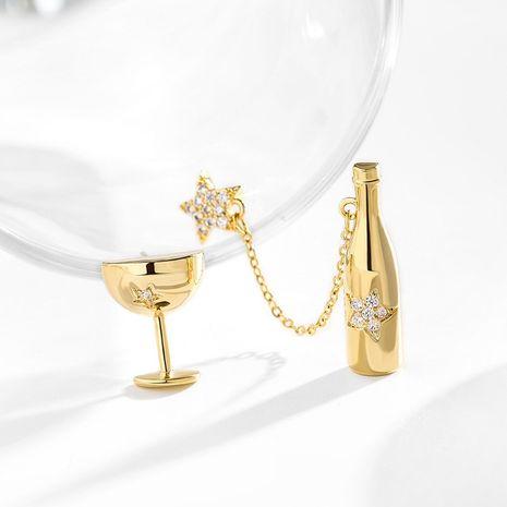 925 argent aiguille asymétrique en verre à vin longues boucles oreilles simples élégantes NHPP266663's discount tags