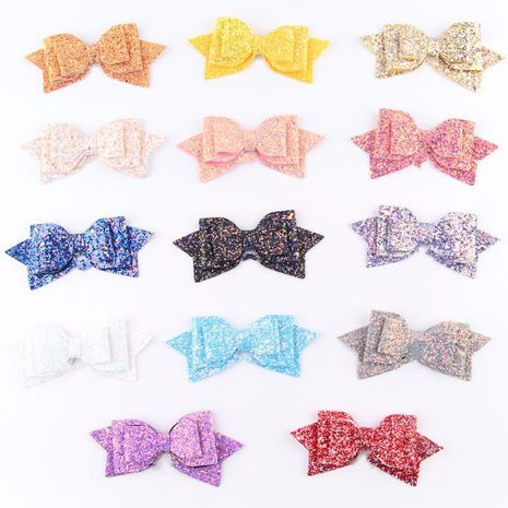 Children's  glitter bow seven color  hairpins  NHDM266720's discount tags