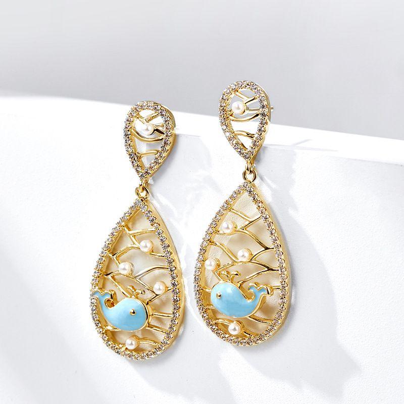 fashion water drop 925 silver needle elegant simple earrings  NHPP266668