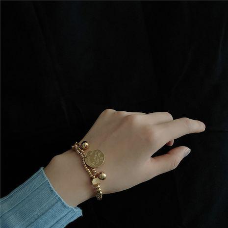 titanium steel English letter disc elastic simple all-match bracelet NHYQ266784's discount tags