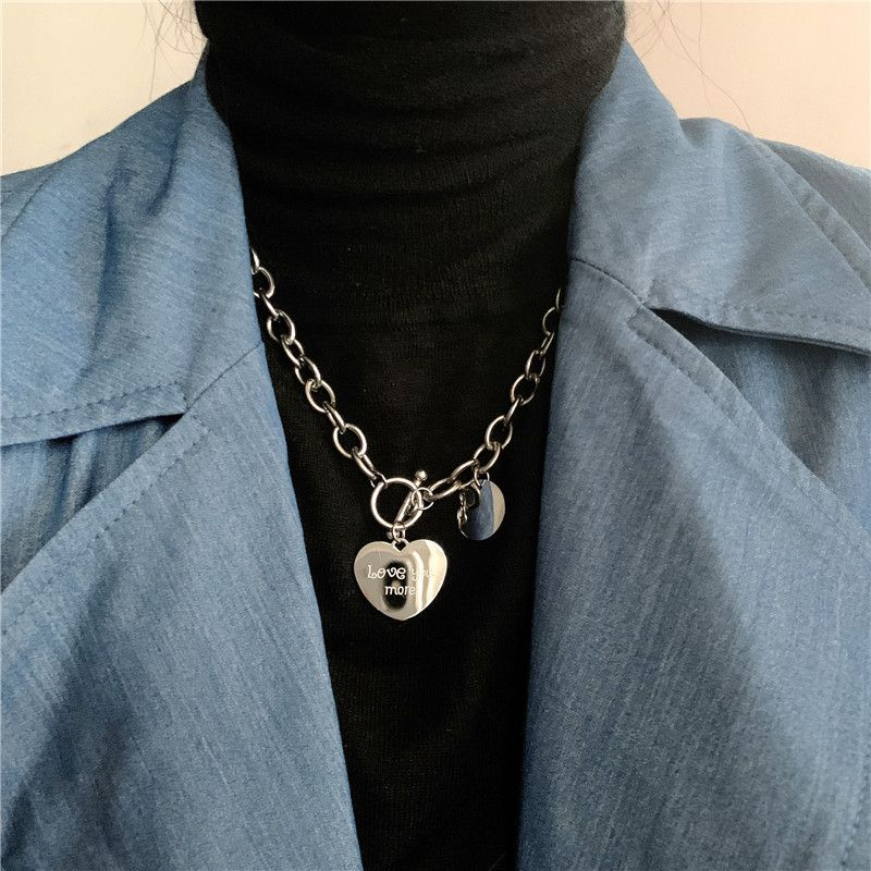 Fashion new titanium steel heart-shaped metal thick chain necklace NHYQ266792