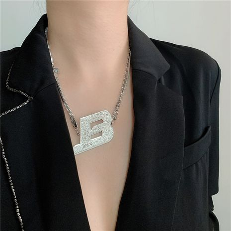 Fashion new splicing pearl letter couple hip hop style cool copper necklace NHYQ266798's discount tags
