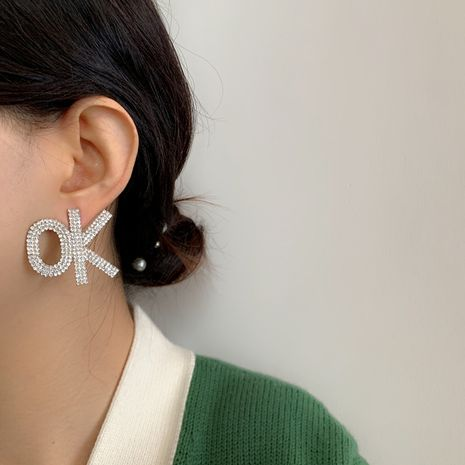 exaggerated letters flashing diamond big earrings NHYQ266800's discount tags