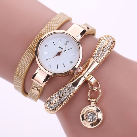 Bowknot plaid pu cinturón bobinado tendencia agua diamante pulsera de moda británica reloj NHSS266812's discount tags