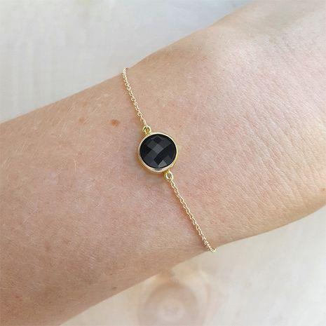 fashion geometric gemstone women's simple two-color bracelet NHTF266817's discount tags