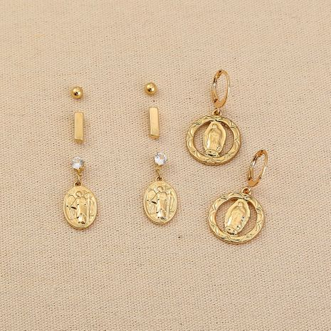 Fashionable new simple Roman portrait pendants earrings sets  NHAN266834's discount tags