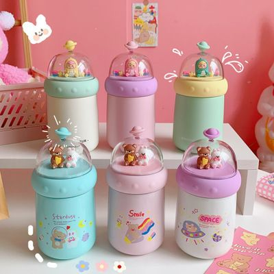 simple cute vacuum flask student portable Korean large capacity girl heart water cup  NHtn266854's discount tags