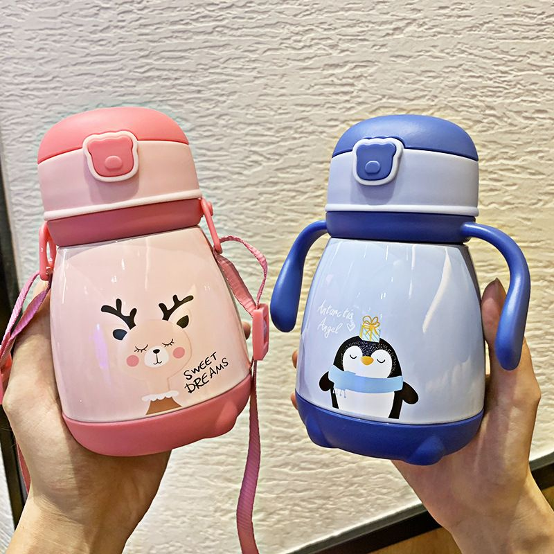 Korean cartoon animal handle children stainless steel vacuum flask baby drinking cute portable cute pet water cup NHtn266858