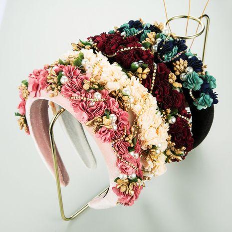 automne et hiver tissu dentelle fleur mariée perle strass éponge bandeau NHLN266887's discount tags