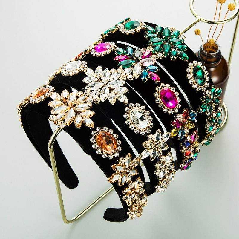 autumn and winter black gold velvet cloth baroque retro small flower full diamond headband NHLN266888